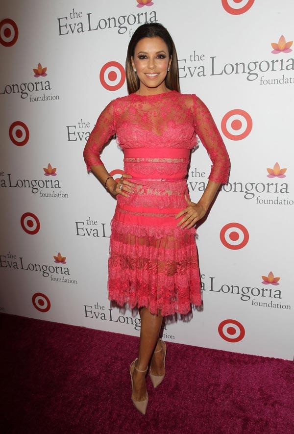 Pretty In Pink Christina Aguilera Vs Eva Longoria Fashionzone