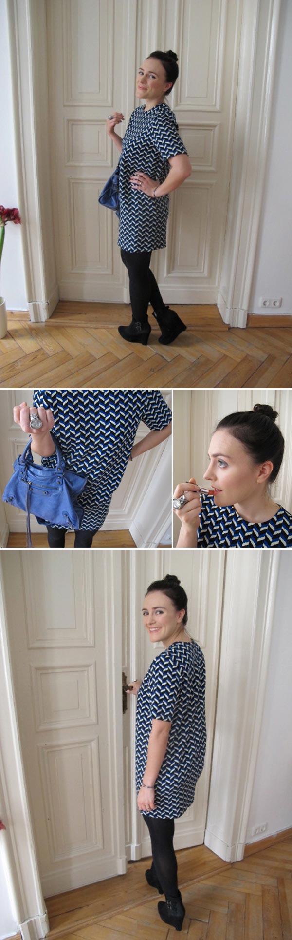 Kleid von Zara, Tasche von Balenciaga, Schuhe von the Kooples