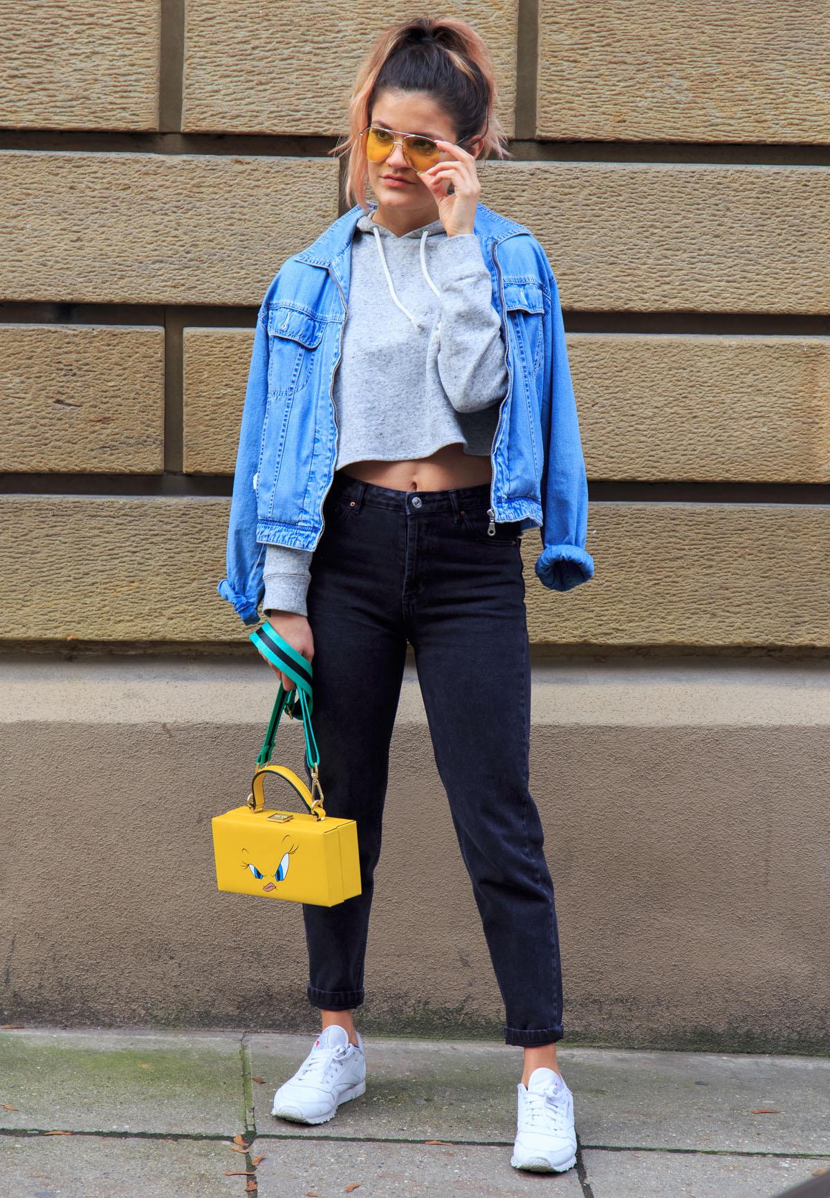 disney-purse-yellow-sunglasses-pastel-pink-hair-reebok-outfit
